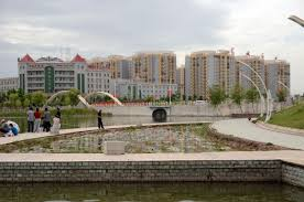 20 kashgar donghu east lake lotus pond with modern buildings behind