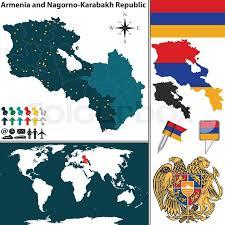 armenia on world map vector map of armenia nagorno karabakh republic with regions coat