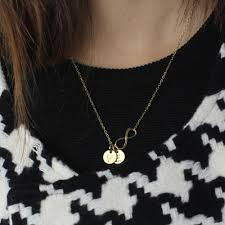 jewelry infinity necklace images Gift for sister infinity necklace with disc initial charm in gold jpg