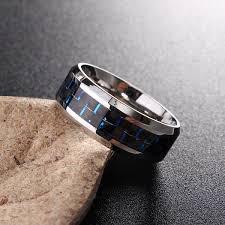 steel finger rings images Blue stainless steel men 39 s jewelry carbon fiber finger ring for jpg