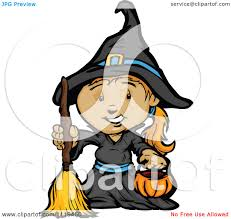 cartoon of a halloween in a witch costume holding a pumpkin