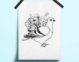 pigeon art etsy
