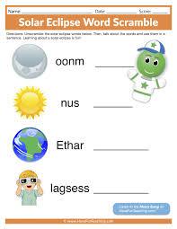 Syllable Worksheets Solar Eclipse Word Scramble Worksheet Have Fun Teaching