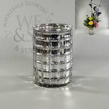 Silver Vase Wholesale Mirrored Mosaic Glass Cylinder Vase In Silver 7x5 Wholesale