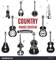vector set country music instruments black stock vector 579864268