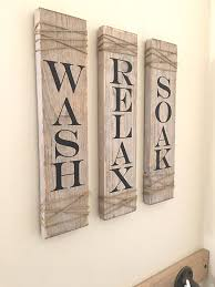 rustic bathroom signs set of three farmhouse bathroom decor wash