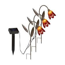 tulip solar path lights hold all outdoor led solar tulip stakes path light 3 pack sl2185c