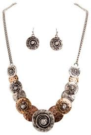 necklace sets wholesale images Multi metal overlapping disc necklace set wholesale n111m jpg