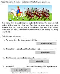 reading comprehension king and his army worksheet turtle diary