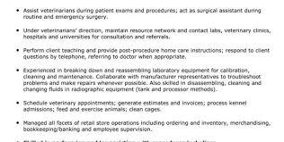 veterinary assistant resume example veterinary technician resume