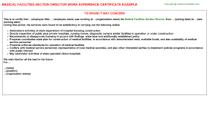 medical facilities section director work experience certificate