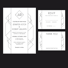 Wedding Invitation Acceptance Card Modern Art Deco Printable Wedding Suite U2014 Charming Ink