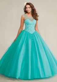 aqua quinceanera dresses fashion scoop backless tullle beaded cheap aqua blue