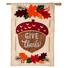 thanksgiving house flags give thanks acorn happy thanksgiving house flag fall house flags