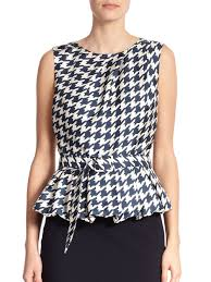 houndstooth blouse lyst pauw silk houndstooth peplum blouse in blue