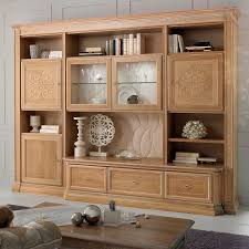 contemporary living room wall unit wooden noce natura stilema