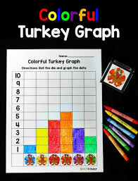 colorful turkey graph simply kinder thanksgiving math and learning