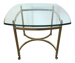 square glass end table vintage brass glass square side table chairish