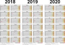 Kalender 2018 Hamburg Excel Dreijahreskalender 2018 2019 2020 Als Excel Vorlagen Zum Ausdrucken