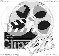 film reel emoji two movie tickets in front of a take clapperboard and a reel of