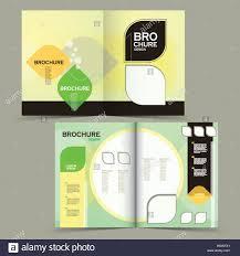 modern half fold brochure design isolated on matcha green stock
