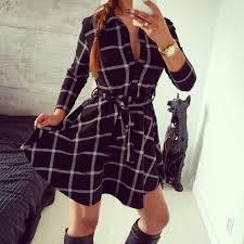girls plaid checker belted dress blouse shirt skater dress