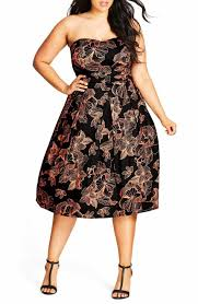 chic dress city chic floral outline fit flare dress