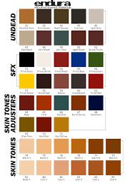 light brown paint color chart european body art endura skt colors
