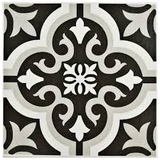 merola tile twenties black 7 3 4 in x 7 3 4 in ceramic floor and