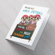 personalised thank you card teacher meerkats from 99p