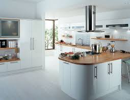 gorgeous minimalist kitchen design with practical wood island and