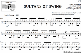 the sultan of swing sultans of swing dire straits drum sheet onlinedrummer