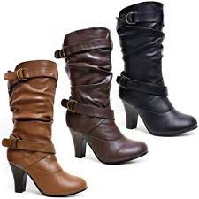 ladies brown biker boots womens leather mid calf boots ebay