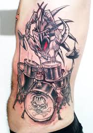 drummer large scale tattoo by delaine gilma design of