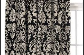 Black And White Damask Curtain Curtains With Beads On Them Eyelet Curtain Curtain Ideas