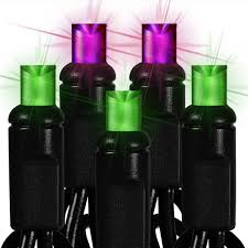 black wire 50 purple green led bulbs 25 ft string light