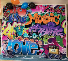 90s Theme Party Decorations 80 U0027s Graffiti Backdrop U0026 Backgrounds 80s Party Pinterest 80