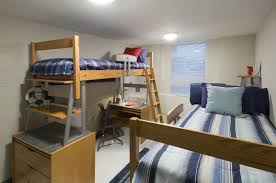 bedroom dorm room ideas bunk beds brick picture frames table