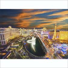 Giant Wall Murals by Vegas At Night Skyline Wall Mural 315cm X 232cm