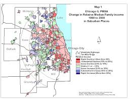 Map Of Chicago Suburbs by Income Change In Suburbs 1990 To 2000