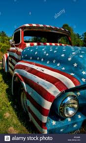 Vintage Flag Art Unique Old Ford Truck Paint Usa Flag Artwork Rockland Maine Art