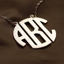 three initial monogram necklace gold initial block monogram pendant necklace