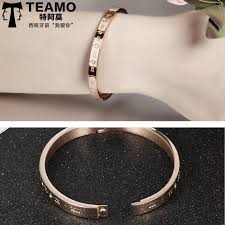rose gold womens bracelet images Teamo his and hers bracelets personalized rose gold bangle for jpg