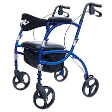 Airgo Comfort Plus Transport Chair 4 Caster Rollator With Seat Folding Height Adjustable
