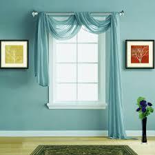 Scarf Curtains Warm Home Designs Sea Blue Sheer Curtains Window Scarf Valances