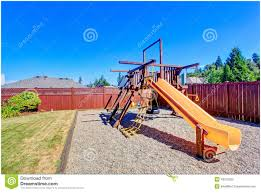 backyards compact fenced backyard with playground for kids