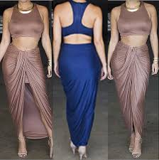 Draped Skirts Aliexpress Com Buy Women Causal Sets Crop Top And Draped Skirt