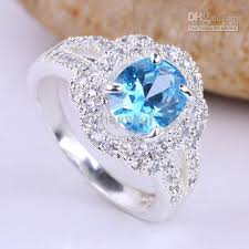 silver rings stones images Women oval stone blue topaz multi cz embed silver wedding rings jpg