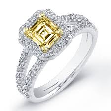canary engagement rings 2 41 ct canary fancy yellow asscher cut engagement ring