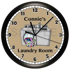 home decor wall clock personalized laundry room wall clock
